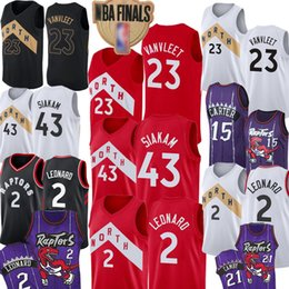 Großhandel Toronto 2019 Raptors Jersey Herren Kawhi 2 Leonard Pascal 43 Siakam Fred 23 VanVleet Retro Vince 15 Carter 21 Camby Basketball 7 Lowry