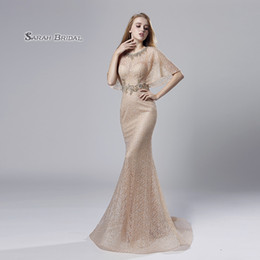 blush lace evening dresses Australia - Blush Lace Mermaid Beaded Prom Party Dress with Wrap 2019 Sexy Elegant Beading Vestidos De Festa Evening Wear Formal Occasion Gown LX534