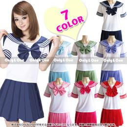 $enCountryForm.capitalKeyWord NZ - UPHYD 7 Colors Anime Costume Japanese School Uniforms Short Sleeve Schoolgirl Sailor Uniform Plus Size Lala Cheerleader Clothing C18122701