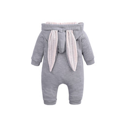 zebra hoodies UK - Cartoon Bunny Baby Hoodie Outfits Rompers Cotton Zipper Baby Rompers Spring Autumn Newborn One-Pieces Infant Costume 3-24 Months