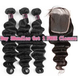 Big wave weaves online shopping - Spring Big Sales Promotion Brazilian Deep Loose Peruvian Human Hair Bundles Loose Deep Free Part Buy Bundles Get A Free Closure