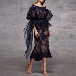 Nude scoop Neck dress online shopping - 2019 Scoop Neck Lace Peplum Mermaid Evening Dresses Ruched Long Sleeves Tea Length Formal Party Cocktail Prom Dresses