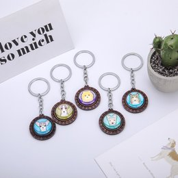 $enCountryForm.capitalKeyWord NZ - Fahion Round Dog Glass Wooden Sheet Key Chain Car Key Ring Colorful Dog Rond Picture For Women man Girls Children Gift