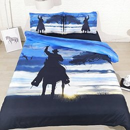 full bedding for boys UK - Cowboy Bedding For Boys Full Size Black And Blue Duvet Cover Queen Sunset Pillow Covers NO Quilt 3PC