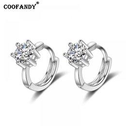 $enCountryForm.capitalKeyWord Australia - Women Casual Geometric Shape Rhinestone Snap Pierced Hoop Earrings Silver