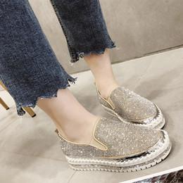 $enCountryForm.capitalKeyWord Australia - Rimocy loafers schoenen vrouwen luxe zilver crystal slip op platform casual shining bling effen zwarte hakken