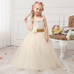 ankle length dress junior 2019 - Champagne Straps Bodice Puffy Tulle Skirt TUTU Junior Bridesmaid Girls Dress School Party Dress for Wedding or Pageant Y