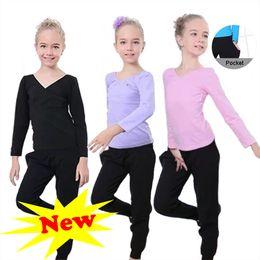 Latin Dancing Suit Australia - Full Cotton Girl Dancing Clothing Children Ballet Latin Dance Cha Cha Training T shirt And Pants Suit