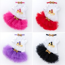f347fbd805 2019 Cute Ins Baby girl 1st Birthday Outfits Clothing set Bodysuit Short  sleeve +Tutu skirt+Sequins Bow Headband 3pcs set Pink Rose Hotsale