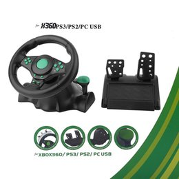 Usb Pedals Australia - 180 Degree Rotation Gaming Vibration Racing Steering Wheel With Pedals For XBOX 360 For PS2 PS3 PC USB Car Steering Wheel