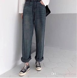 long wide leg jeans NZ - Autumn wide leg jeans female Korean version of chic retro loose long pants Hong Kong style fashion wild high waist casual pants