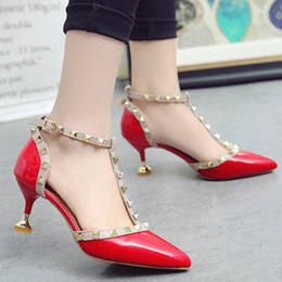 3ef413e2f4cdf Designer Dress Shoes Women Pumps Sexy High Heels Sandals Rivets T Ankle  Strap Pointed Toe Nude wedding Ladies Stiletto Thin Heel Sapato OL