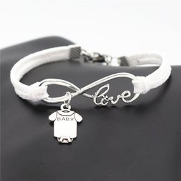 e867974bd Hot Big Promotion Silver Alloy Infinity Love Cute Baby Short Sleeve Clothes  T-shirt Romper Jewelry Knitted White Leather Rope Charm Bracelet