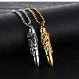 necklaces pendants Australia - Hot new Creative Titanium Steel Ssangyong Sword Bullet Men's Pendant Can be unscrewed to load paper pendant necklace WCW253
