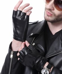 Real Leather Half Gloves Australia - man's fashion wrist button style real leather half finger fingerless black gloves