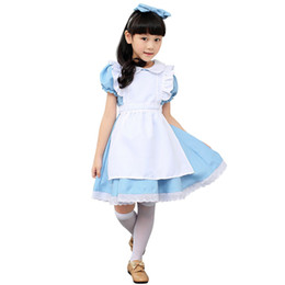 Discount maid cosplay lolita dress - Alice in Wonderland Kids Girls Fancy Dress Maid Lolita Cosplay Costume Outfits Set