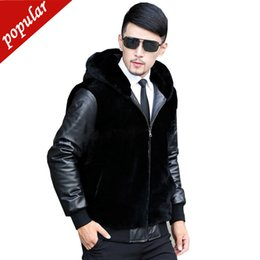 short mink fur NZ - Winter Men Pu Leather Patchwork Short Faux Fur Coats Male Fake Mink Fur Outerwear Plus Size Fur Jacket 4xl 5xl 6xl W1410
