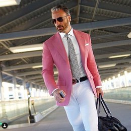 blue suit smoking NZ - Smoking Jacket Men Suits White Pants Pink Linen Groom Tuxedos Man Blazers Costume Homme Maraige Groomsmen Wear Prom Party 2Piece Coat Pants