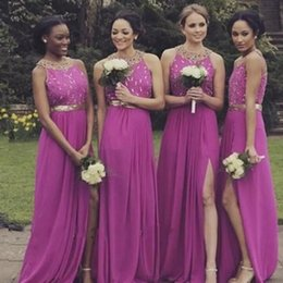 Black Coral Beads Australia - Fuchsia Chiffon A Line Bridesmaids Dresses Side Split Shining Beads Maid Of Honor Dress Backless Black Girls Wedding Party Gowns
