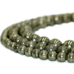 Round Natural Stone Beads Pyrite Gemstone Energy Stone Healing Loose Beads for Women Bracelet DIY Jewelry Making 1 Strand 4 6 8 10mm on Sale