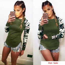 $enCountryForm.capitalKeyWord Australia - Women Army GREEN Tshirts Camouflage Sleeves Patchwork Tops Spring Autumn Long Bottoming Top