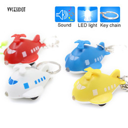 China Car Keychains Pendant Helicopter Shaped Key Ring with LED Light Sounding Luminous Key chain Keyring Red Blue White Yellow cheap light helicopters suppliers