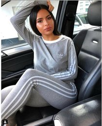 skateboarding clothing NZ - WomenTracksuit Two Piece Outfits Long Sleeve Sports Suit Daily Lady Striped Print Tracksuit Sport Sweatsuit 2019 Women Clothing A0