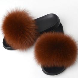 $enCountryForm.capitalKeyWord Australia - Yu Kube Real Fox Fur Slides Plus Size Summer 2019 Open Toe Fluffy Real Hair Slippers Flat Slip On Flip Flops Casual Furry Shoes
