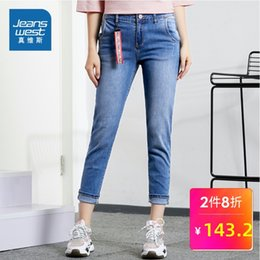 Discount woman jeans bound - Really Weiss Jeans Woman 2019 Autumn Clothing Ma'am Self-cultivation Micro Bomb Bound Feet Nine Part Ku Xianshou Pe