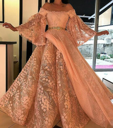 $enCountryForm.capitalKeyWord Australia - Evening Dresses Yousef Aijasmi Prom Dress Long Sleeve Puffy Skirt Off The Shoulder Lace Ball Gown Zuhair Murad Kim kardashian