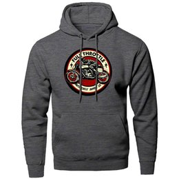biker hoodie NZ - Full Throttle Cafe Racer Rockabilly Biker Hoodie Men Sweatshirt Winter Fleece Warm Pullover Sweatshirts Hooded Hoodies Hoody