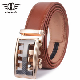 designer genuine leather belts NZ - Plyesxale Mens Belts Luxury Genuine Leather Belt For Men Ratchet Designer Automatic Ratchet Ceinture Homme Luxe Marque Brown G41