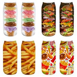 $enCountryForm.capitalKeyWord UK - 3 pairs dozen New 3D Printed socks 22 styles Girl Hamburger Fries cartoon Low Cut Ankle designer socks Funny sock Christmas Gift JY471