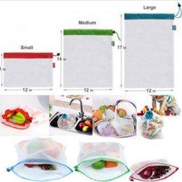 $enCountryForm.capitalKeyWord Australia - 5pcs set Reusable Produce Bags Black Rope Mesh Bags Fruit Vegetable Toys Mesh Storage Bags Washable Eco Friendly Pouch T0426