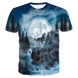 d9bc8011fbb3 2018 New Style Brand T Shirt 3D Men Blue Space Galaxy Mountain Wolf Graphic  T-Shirt Men Boy Summer Clothing Casual T shirt