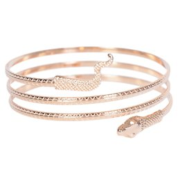 silver armlet Australia - Punk Fashion Coiled Snake Spiral Upper Arm Cuff Armlet Armband Bangle Bracelet For Women Jewelry Gold Silver Color