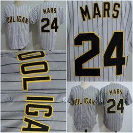 Wholesale Hot Sale Bruno Mars K Hooligans Baseball Jersey Gray Pinstripe White Stitched Doo Wops Singers Bruno Mars K Magic Button BET Awards Jers