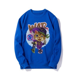 Chinese  2019 new fashion men's sweater handsome fashion with imported fabrics comfortable fashion trend cat paint spray badge manufacturers