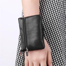 Wholesale Wrist Zipper Wallet Australia - Black Wrist Bag Unisex Adults Convenient Key Bag Coin Purse Business Card Women Purse Mini Zipper Pouch