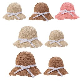 $enCountryForm.capitalKeyWord NZ - Chic Summer Kids Floral Decor Straw Hats Children Beach Baby Girls Sunhat Parent-child Fashionable Handmade Casual Foldable Cap