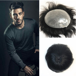 $enCountryForm.capitalKeyWord Australia - Skin Human Hair Toupee Full Pu Toupee For Men Replacement System Men Hair Natural Black Straight Poly Mens Toupee Hairpiece
