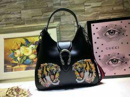 $enCountryForm.capitalKeyWord Australia - 446687 black full leather tiger head Women Handbag Top Handles Shoulder Bags Crossbody Belt Boston Bags Totes Mini Bag Clutches Exotics