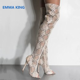 snake boots 2019 - Spring Autumn Peep Toe Sexy Over The Knee Boots Women Snake Prints Stilettos Fashion Thigh High Boots Side Zip High Heel