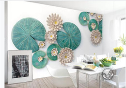 three dimensional pictures Australia - 3d wallpaper custom photo mural 3D three-dimensional relief lotus leaf lotus simple wind background wall home decor wall art pictures