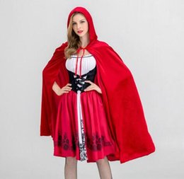 little red riding hood costume NZ - Luxury Womens Halloween Dresses New Designer Womens Suits Cosplay Little Red Riding Hood Costume for Women Cloaks + Dresses Size S-XL