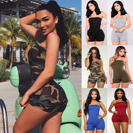 Wholesale ladies green romper resale online – Women Casual Sleeveless Bodycon Romper Playsuit Club Bodysuit Short Pants Ladies Off Shoulder Sexy Fitness Playsuits