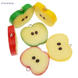 Wholesale GraceAngie Resin Imitation Fruit Pendant Apple Slice Green Flatback Cabochon Keychain Phone Case Hanging Accessory mm