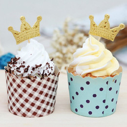 $enCountryForm.capitalKeyWord Australia - 50 100 pcs Gold Princess Crown Topper Cake Tooper Paper Favors Party Cake Cupcake Picks Baby Shower Wedding Birthday Decorations
