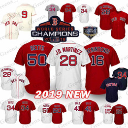 25cf91f7dd6 Boston Red Sox Jersey 50 Mookie Betts 28 J D Martinez J.D. 19 Jackie  Bradley Jr. 16 Andrew Benintendi 9 Ted Williams Jerseys 2019 new