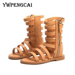 baby girls sandals Australia - New 2019 Summer Girls Sandals Open-toed Long Zip Gladiator High Sandals Size 21-30 Baby Toddler Girl Sandals Black, Brown Y19062001